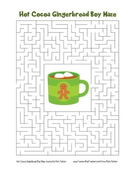 """Hot Cocoa Gingerbread Boy"" Maze! Holiday FUN! (Color and"