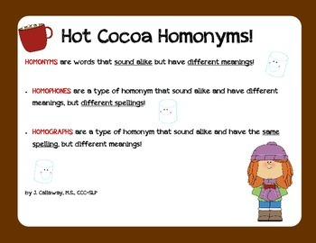 Hot Cocoa ~ Homonyms!