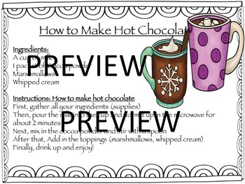 Hot Cocoa Language Pack: sequencing, adjectives, writing