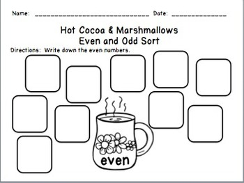 Hot Cocoa & Marshmallows Even and Odd Sort (0-100)