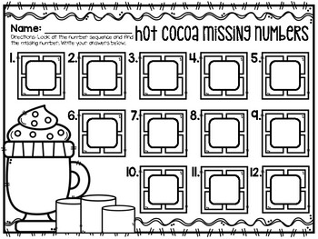 Hot Cocoa Missing Numbers