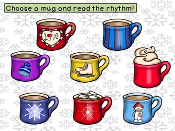Hot Cocoa Rhythms 2 sixteenth notes  1 eighth TikaTi/Tiri Ti/Tipi Ti