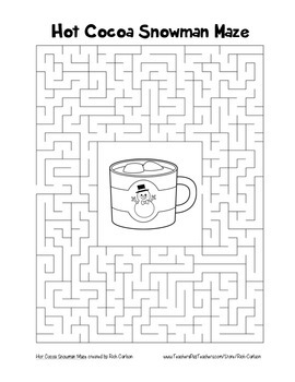 """Hot Cocoa Snowman"" Maze! Holiday FUN! (Color and Black Line)"