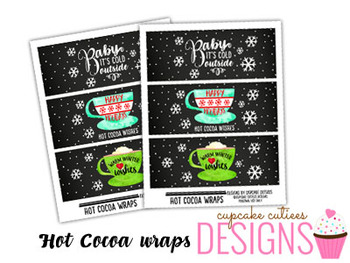 Hot Cocoa Wraps Favor Hand out Classroom Party Favor Printable