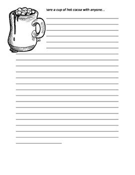 Hot Cocoa Writing Template