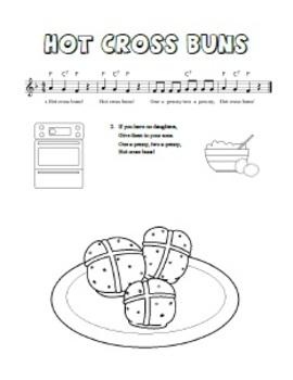 """Hot Cross Buns"" Printable Song Sheet"