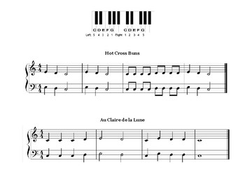 Hot Cross Buns and Au Claire de la Lune - Piano Sheet Music