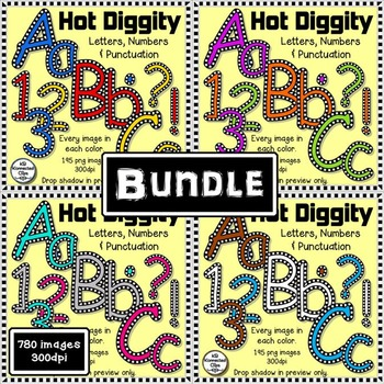 Hot Diggity Bundle - Check Outlined Letters and Numbers -