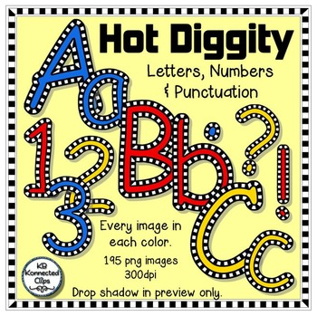 Hot Diggity - Check Outlined Letters and Numbers - Red, Blue & Yellow