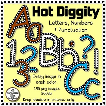 Hot Diggity  - Check Outlined Letters and Numbers - Brown, Sky Blue & White