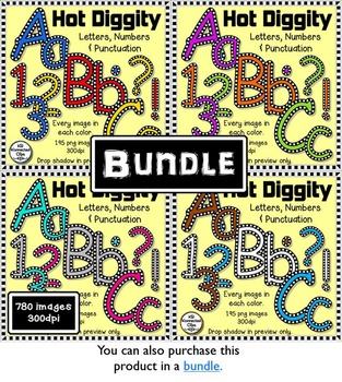 Hot Diggity - Check Outlined Letters and Numbers - Green, Purple, and Orange