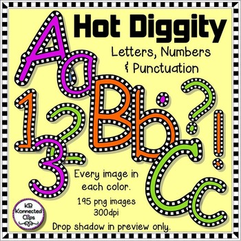 Hot Diggity - Check Outlined Letters and Numbers - Green,