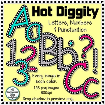 Hot Diggity - Check Outlined Letters and Numbers - Pink, Turquoise, & gray