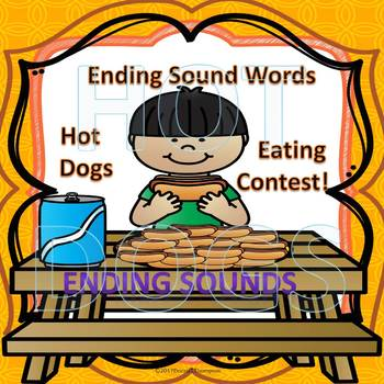 "Hot Dog Eating Contest ""Ending Sounds Flash Cards"" (CVC Words)"