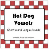Hot Dog Vowels File Folder Game - Sort Short e Long e Words