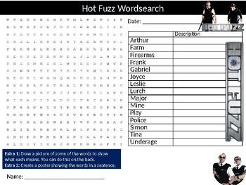 Hot Fuzz Movie Wordsearch Sheet Starter Activity Keywords Media Studies