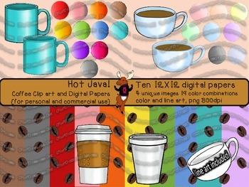 Hot Java! - Coffee Clip Art and Digital Paper