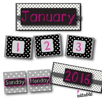 Hot Pink & Black Polka Dot Calendar Pack