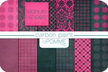 Hot Pink & Charcoal Carbon Paint Digital Paper Pack