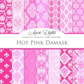 Hot Pink Damask Digital Paper patterns ornate scrapbook ba