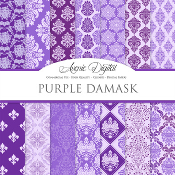 Purple Damask Digital Paper patterns ornate scrapbook backgrounds
