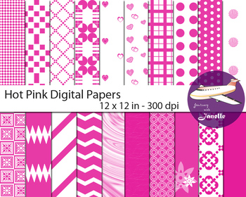 Hot Pink Digital Papers for Backgrounds, Scrapbooking Classroom Decorations