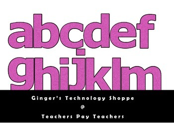 Hot Pink Glitter Characters!  Alphabet, Numbers, Symbols!