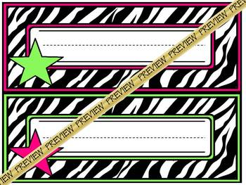Nameplates: Zebra with hot pink/lime green stars