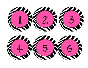 Hot Pink, Neon Green, Turquoise Zebra Numbers 1-25 plus blanks