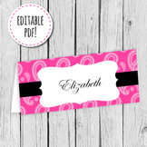 Hot Pink Paisley Place Card, Label or Tag Editable PDF Printable