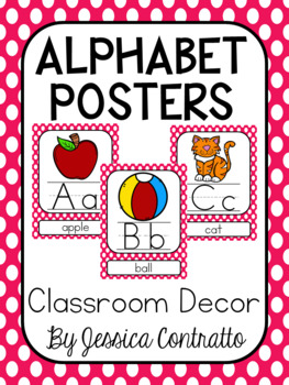 Hot Pink Polka Dot ABC Posters