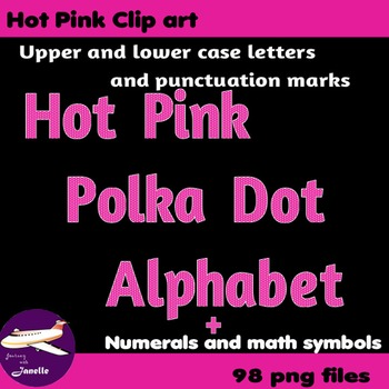 Hot Pink Polka Dot Alphabet Clip Art + Numerals, Punctuation and Math Symbols
