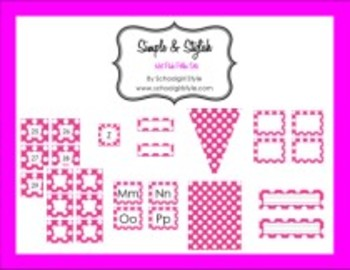 Hot Pink Polka Dot Collection Classroom Decor