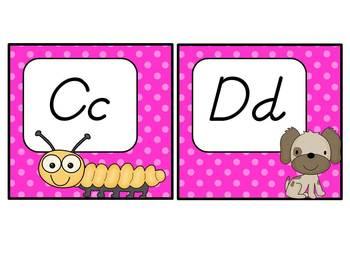 Word Wall Headers: Hot Pink Polka Dots, D'Nealian Font