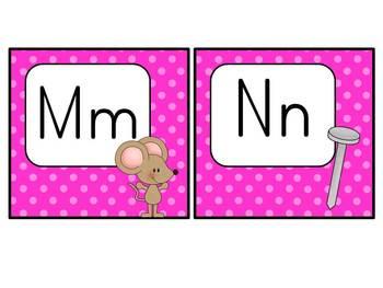 Word Wall Headers: Hot Pink Polka Dots