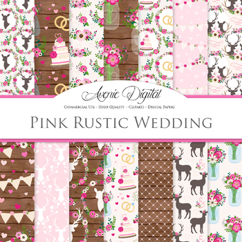 Hot Pink Rustic Wedding Digital Paper - Bright Pink Wedding Seamless Patterns