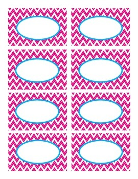 Hot Pink Stitched Chevron with Blue Classroom Decor Labels