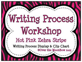 Hot Pink Zebra Stripe Writing Process Workshop Displays & Clip Chart