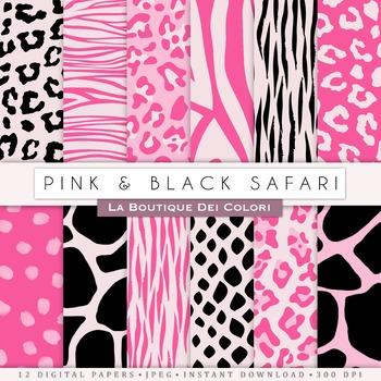 Hot Pink and Black Animal Prints Digital Paper, scrapbook