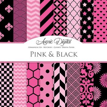 Hot Pink and Black Digital Paper patterns - backgrounds