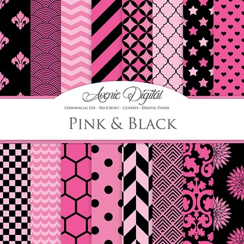 Hot Pink and Black Digital Paper patterns - backgrounds