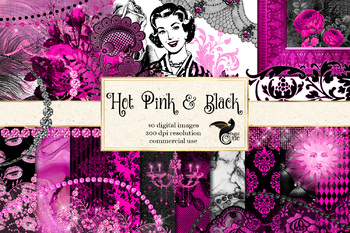 Hot Pink and Black Digital Scrapbooking Kit