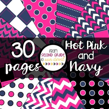 Hot Pink and Navy Digital Paper