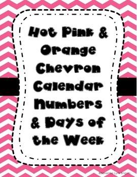 Hot Pink and Orange Calendar Pieces