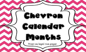 Hot Pink and Orange Chevron Calendar Months