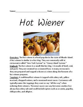 Hot Wiener - Rhode Island food - hot dog - history facts information questions