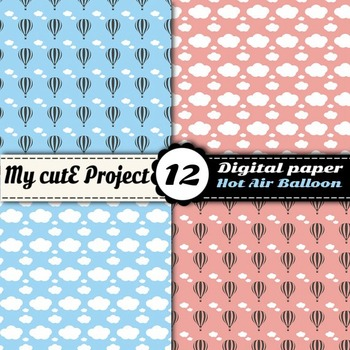 Hot air balloon Digital paper with clouds and polka dots - Scrapbooking paper