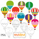 Hot air balloons clip art bundle