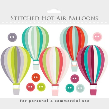 Hot air balloons clipart - stitched hot air balloon, clip art, buttons