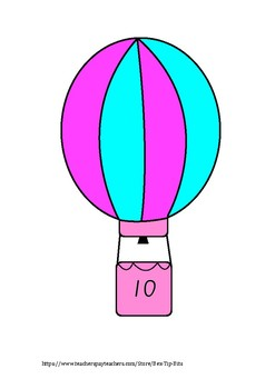 Hot air balloons counting by 10's posters